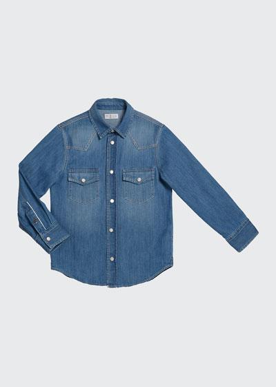 Boy's Long-Sleeve Button-Down Denim Shirt, Size 4-6