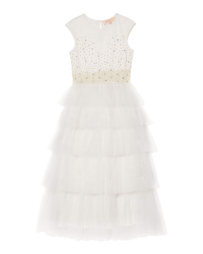 Girl's Pearled Dreams Long Tulle Dress, Size 2-11