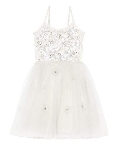 Girl's Shimmering Petals Tulle Dress, Size 2-11
