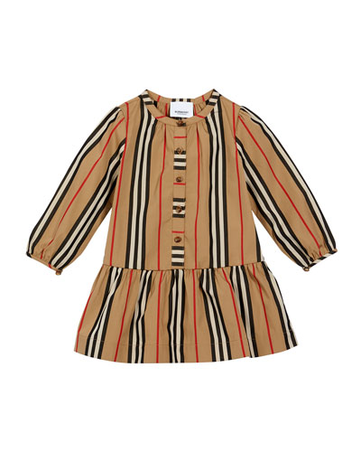 Girl's Icon Stripe Gathered Poplin Dress, Size 6M-2