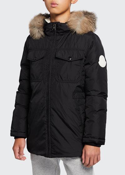 Menue Long Hooded Parka w/ Fur Trim, Size 8-14