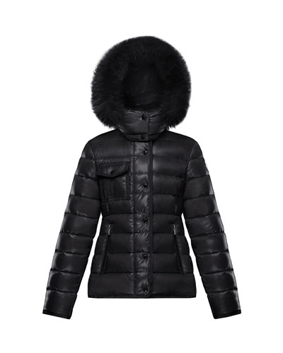 Armoise Quilted Puffer Jacket w/ Fur-Trim Hood, Size 8-14