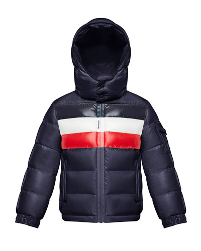 Boy's Dell Quilted Logo-Strip Puffer Jacket, Size 8-14