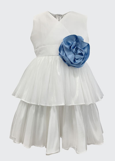 Girl's Tiered Taffeta Dress w/ Flower, Size 2-6