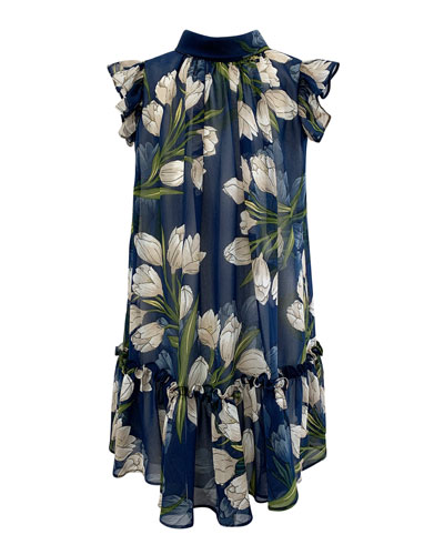 Girl's Tulip-Print Chiffon Dress, Size 7-14