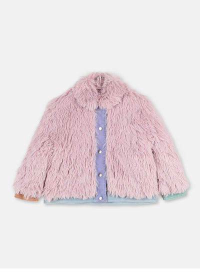Girl's Faux Fur Jacket w/ Denim Trim, Size 4-14