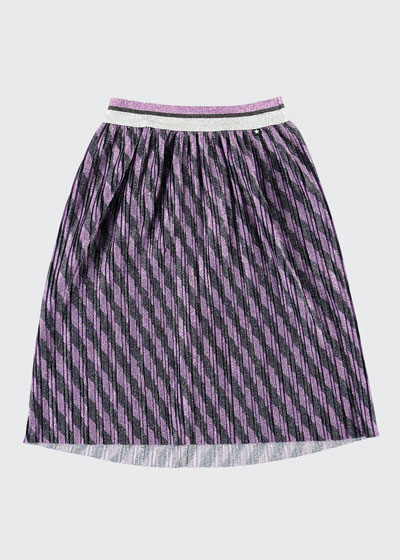 Girl's Bailini Glitter Stripe Pleated Skirt, Size 3T-14