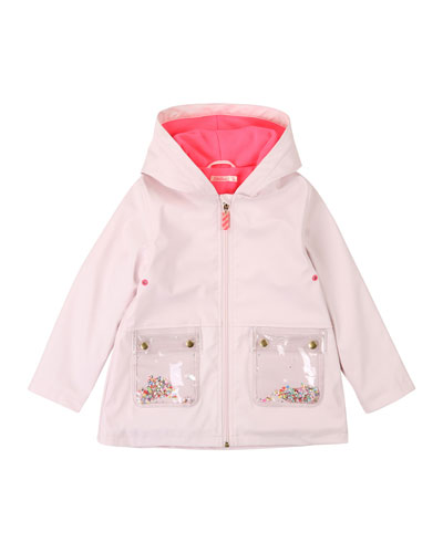 Hooded Raincoat w/ Moving Sequin Pockets, Size 4-12