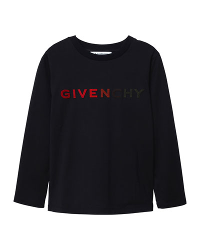 Boy's Gradient Logo Embroidery Long-Sleeve T-Shirt, Size 12-14