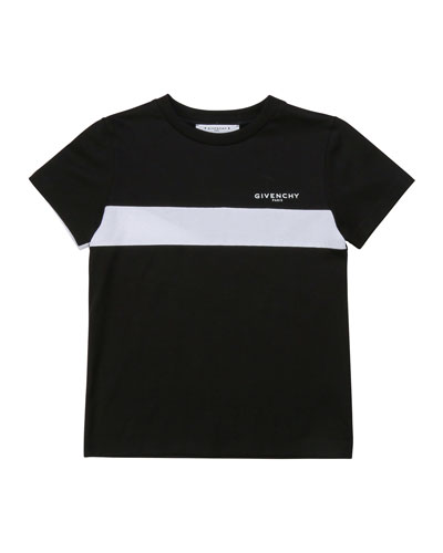 Boy's Logo Above Chest Stripe T-Shirt, Size 12-14