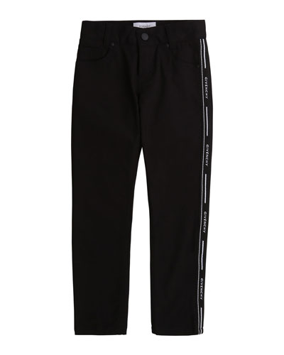 Boy's Slim Fit Trousers with Side Logo Band, Size 4-10