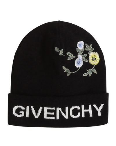 Girl's Knitted Beanie Hat with Flower Embroidery