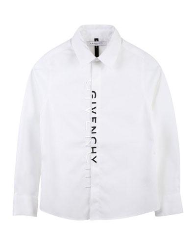 Boy's Dress Shirt with Logo Down Button Placket, Size 12-14