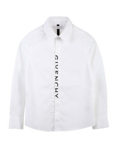 Boy's Dress Shirt with Logo Down Button Placket, Size 4-10