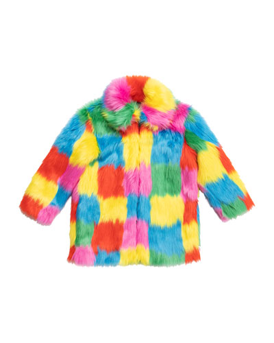 Girl's Multicolor Patchwork Faux Fur Coat, Size 4-14