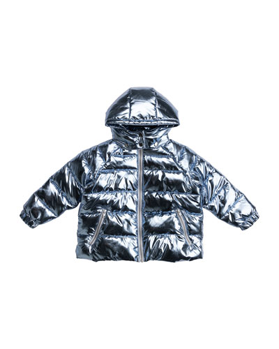 Girl's Oversized Foil Quilted Puffer Hooded Jacket, Size 4-14
