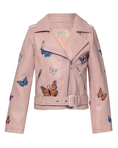 Girl's Vegan Leather Butterfly Moto Jacket, Size 7-14