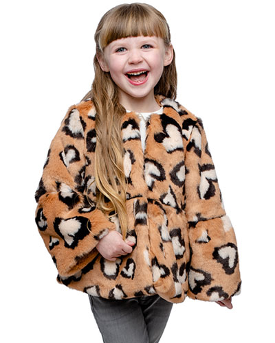 Girl's XOXO Leopard Faux Fur Coat, Size XXS-L
