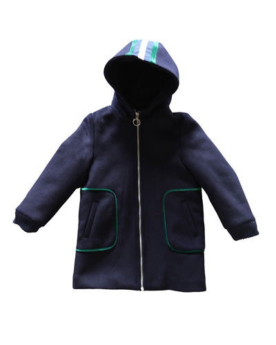 Girl's Hooded Zip-Front Pea Coat w/ Striped Trim, Size 4-14