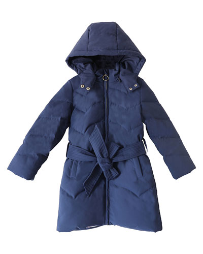 Girl's Quilted Puffer Hooded Coat w/ Belt, Size 4-14