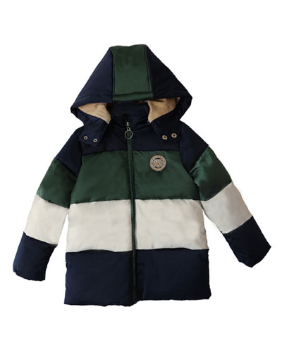 Boy's Striped Hooded Quilted Puffer Coat, Size 4-14