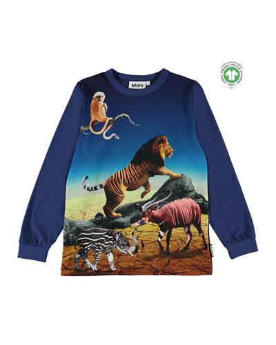 Boy's Rez Animals Placement Print Long-Sleeve T-Shirt, Size 4-10