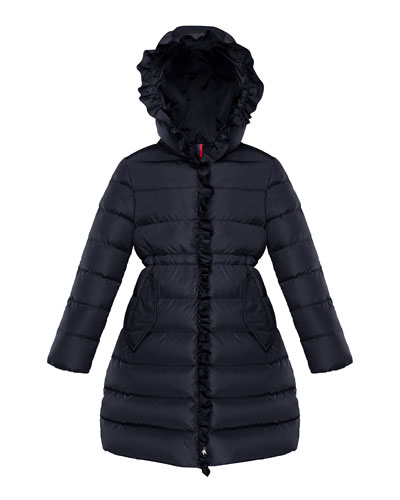 Girl's Vennal Technique Long Ruffled Coat, Size 8-14