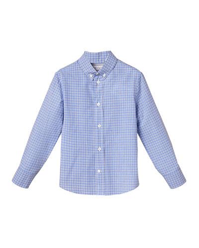 Boy's Micro Check Button-Down Cotton Shirt, Size 4-6