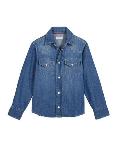 Boy's Denim Western Shirt, Size 12-14