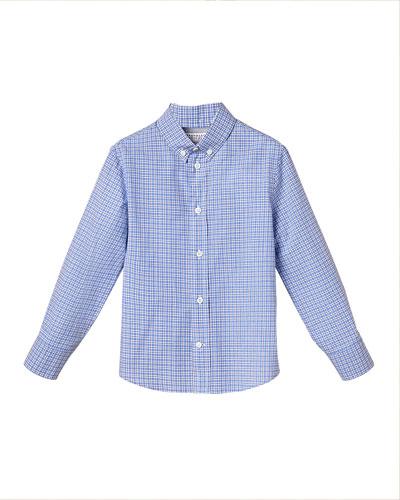 Boy's Micro Check Button-Down Cotton Shirt, Size 8-10