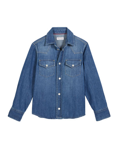 Boy's Denim Western Shirt, Size 8-10