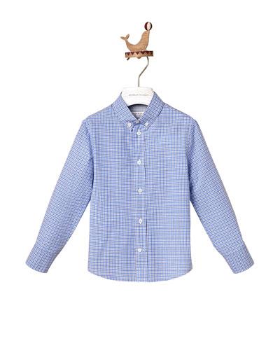 Boy's Micro Check Button-Down Cotton Shirt, Size 12-14