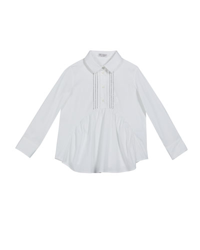 Girl's Ruffle-Front Poplin Blouse with Monili Placket, Size 8-10