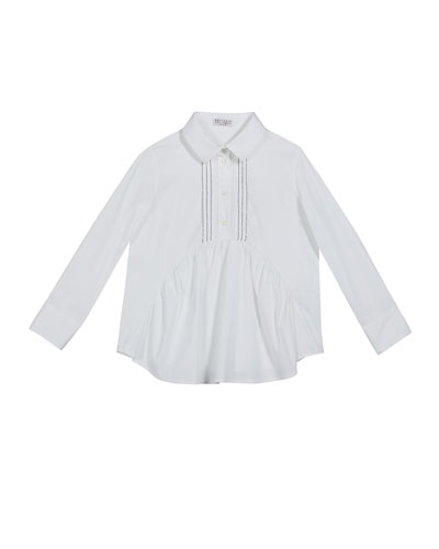 Girl's Ruffle-Front Poplin Blouse with Monili Placket, Size 4-6