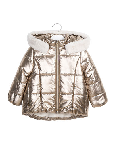 Girl's Metallic Quilted Puffer Hooded Coat w/ Faux Fur Lining, Size 4-8