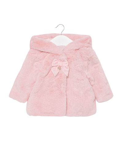 Girl's Faux-Fur Bow Hooded Coat, Size 6-36 Months