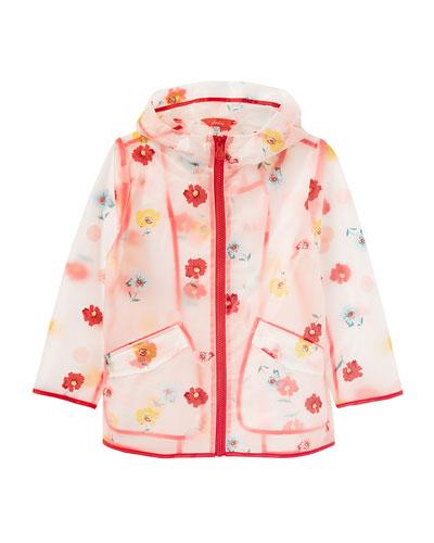 Girl's Raindance Clear Floral-Print Raincoat, Size 4-10