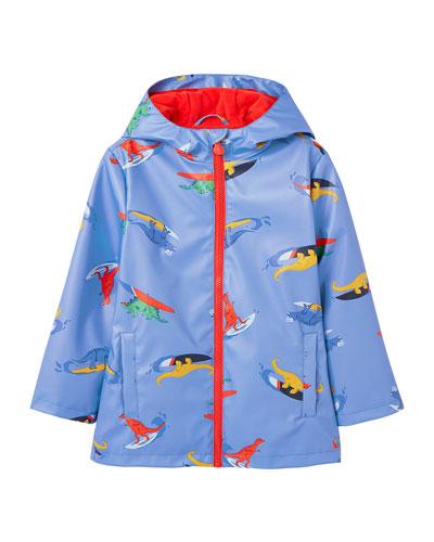 Skipper Surfing Dino-Print Raincoat, Size 2-6
