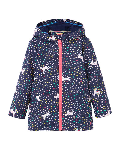 Raindance Waterproof Unicorn & Star Rain Jacket, Size 2-6
