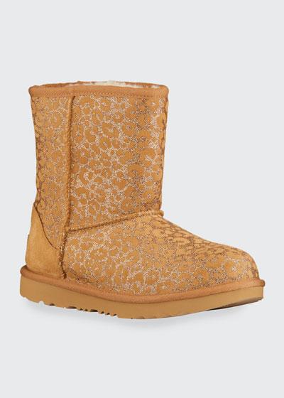 Girl's Classic II Metallic Glitter Leopard Suede Boots, Baby/Toddler