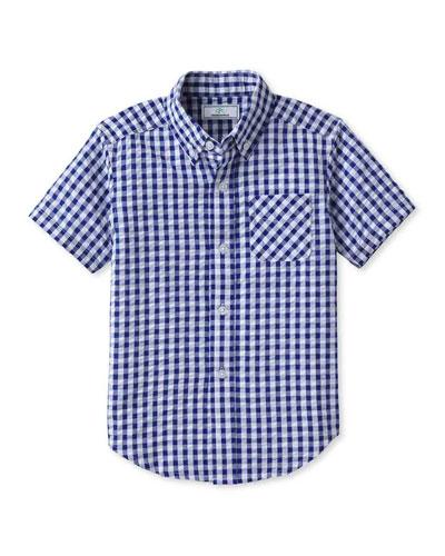 Boy's Owen Gingham Button-Down Shirt, Size 2-14