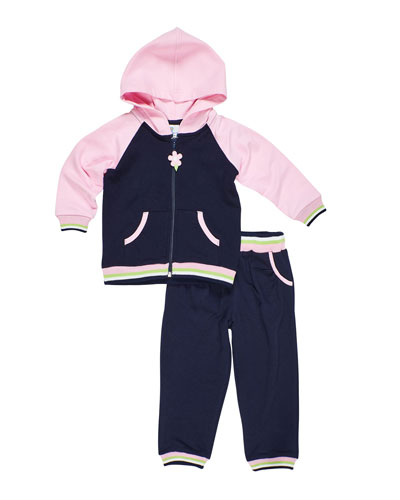 Girl's French Terry Zip-Front Hoodie & Pants Set, Size 6-24 Months