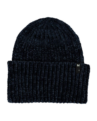 Girl's Kitty Chenille Ribbed Beanie Hat, Size S-L