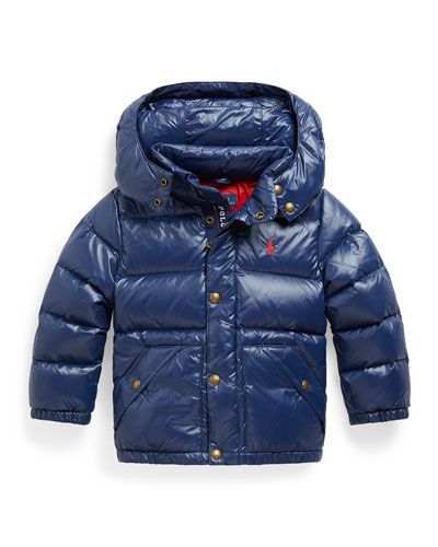 Boy's Quilted Puffer Jacket w/ Detachable Hood, Size 2-4