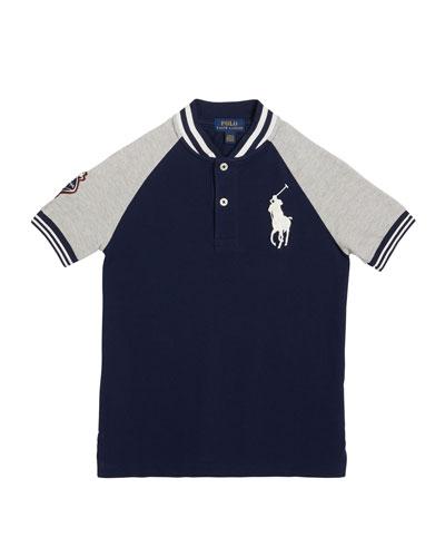 Boy's Football Embroidered Logo Shirt, Size 5-7