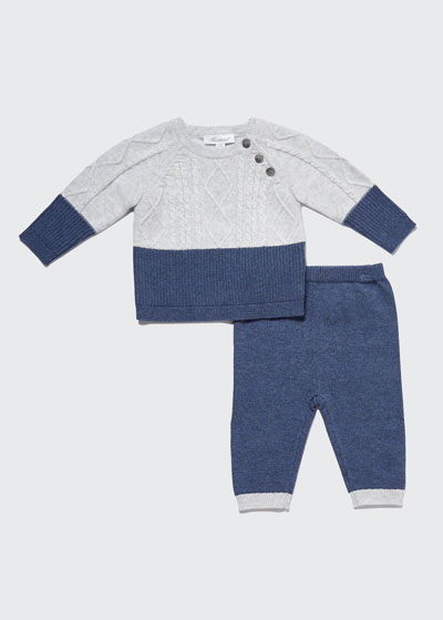 Boy's Layered Knit Sweater Two-Piece Outfit Set, Size 3-9M