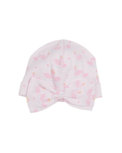 Glitter Swan's Printed Bow Baby Hat