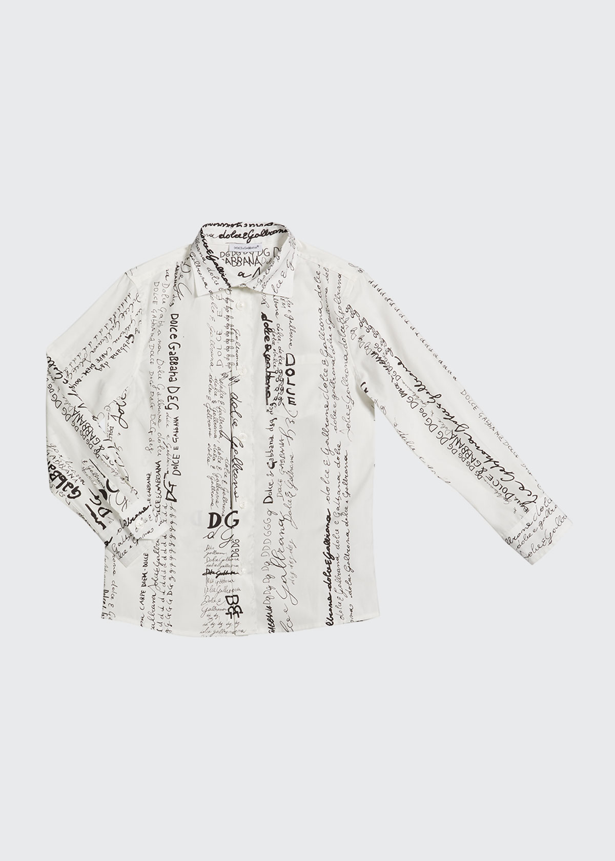 Dolce & Gabbana BOY'S LOGO SCRIBBLE PRINTED DRESS SHIRT