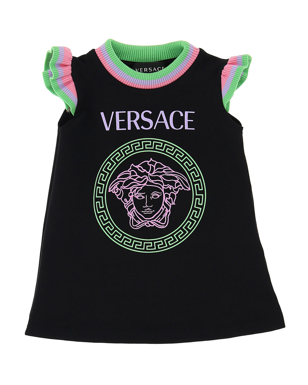 Versace Dresses GIRL'S RIBBED RUFFLE DRESS W/ MEDUSA LOGO