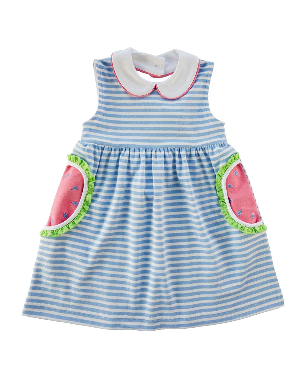 Florence Eiseman Dresses GIRL'S STRIPED WATERMELON POCKET DRESS